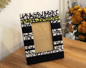 Mosaic picture frame Bedroom decor Photo frame Geometric wall art Office desk accessories Office decor Boss gift for him Best friend gift