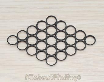 PDT260-B // Black Jewelry Paint Coated Filigree Bubble Circles Diamond Shaped Pendant, 2 Pc