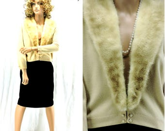 Vintage 50s cashmere / mink sweater / S / M / 1950s Bernhard Altmann / cashmere cardigan / removable blonde mink collar