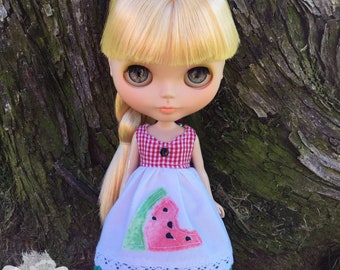 Neo Blythe Dress,Pullip Doll Dress,Blythe Summer Dress,Blythe Clothing Outfit,Custom Pullip Doll,Blythe Clothes,OOAK Watermelon Dress Red