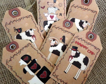 Set of 6 Large Primitive 'I Love Cows' Gift Tags With Ribbon