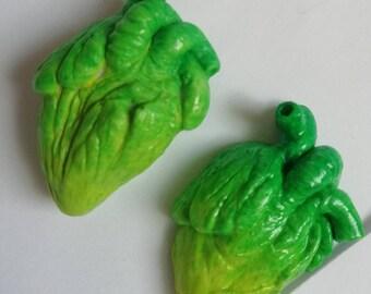Anotomic heart resin pendant  green/yellow