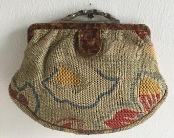 Deco Era Fabric Clutch with Leather Trim