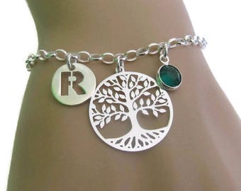Personalized Tree of Life Bracelet, Birthstone Bracelet, Initial Bracelet, Sterling Silver Bracelet, Jewelry, Gift for Her