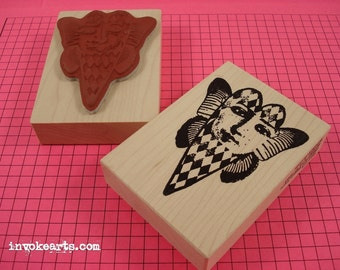 Diamond Heart Face Stamp / Invoke Arts Collage Stamps