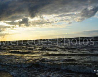 Unframed poster, Cloudy Sunset by the Seaside, printable wall art, home decor, landscape photography, Nikon D5200, poster, photo, 30x45cm