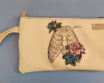 Bones clutch, ribcage clutch, faux leather clutch