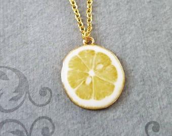 Lemon Necklace Lemon Jewelry Lemon Slice Charm Necklace Yellow Lemon Pendant Necklace Citrus Fruit Necklace Food Jewelry Fruit Jewelry Gift