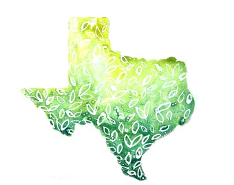 Gold and Green Texas Watercolor