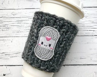 Chunky Coffee Cozy, Knitting Cozy, Knit Coffee Cozy, Yarn Applique Coffee Cozy, Chunky Knit Cup Cozy, Knitter Gift, Crochet Gift