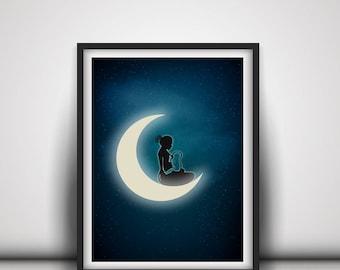 Poster illustration breastfeeding in the Moonlight - a4 a3