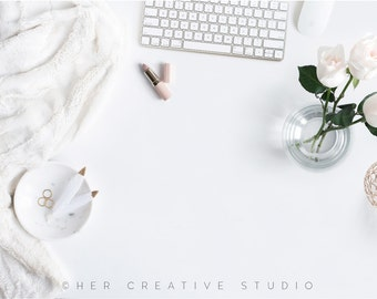 Styled Stock Photography | White and Gold Flatlay with desk Accessories | Styled Photography | Digital Image