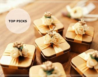 Set of 10 Gold Wedding Favors Boxes, Gold Tin Boxes, Gold Jewelry Boxes, Gold Wedding Gift Boxes, Wedding Tin Boxes