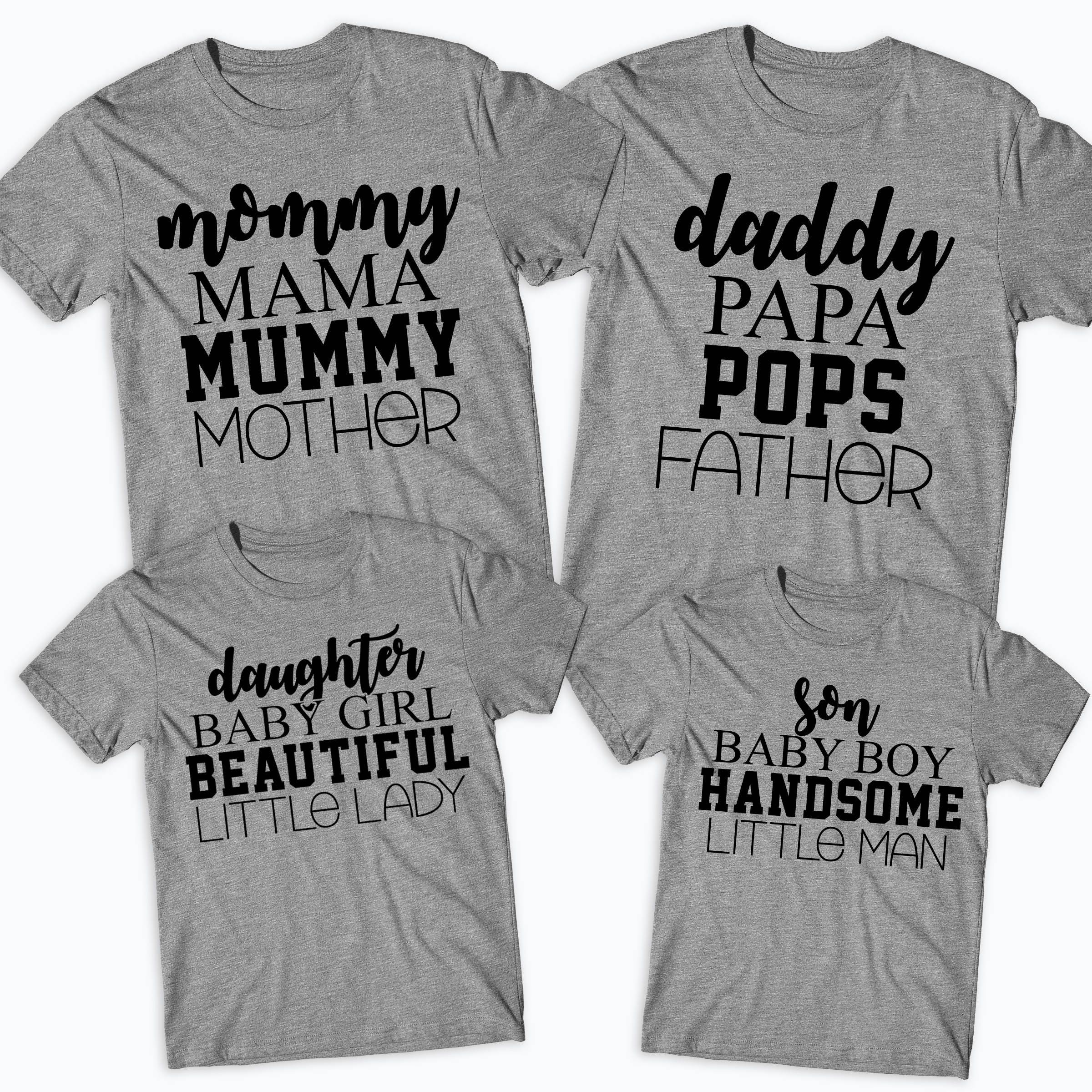Mommy Daddy Son Daughter Matching Family T Shirts Father