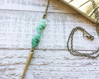 Aventurine Pendant Necklace // Spike Necklace // Modern Necklace // Boho Necklace // Long Necklace // Natural Stone // Gift for Her