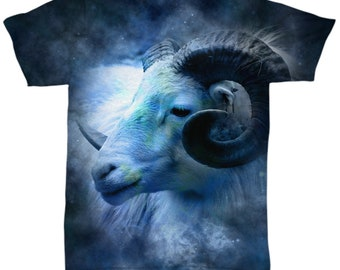 Birthday Gift for Aries Sign, Blue Aries Ram Zodiac All Over Print Shirt Astrology Birthday Gift  XS - 2 XL sizes