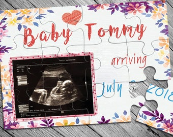 Baby puzzle etsy personalized pregnancy announcement puzzle ultrasound picture announcement pregnancy reveal baby arrival announcement gift negle Images