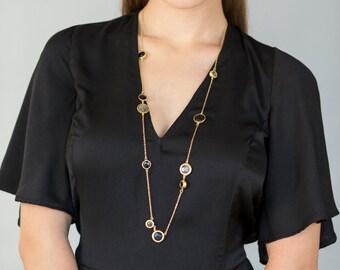 Cabochon Long Gold Fashion Necklace, gemstone necklace, gold necklace, gold and gemstone necklace, gold fashion necklace, cabochon necklace