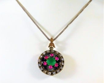Handmade Sterling Silver Necklace with Rhinestones, Emerald, and Rubies