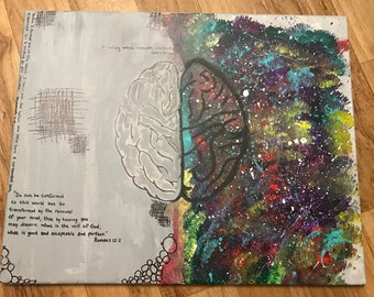 Hand painted creative versus logical brain with bible verses