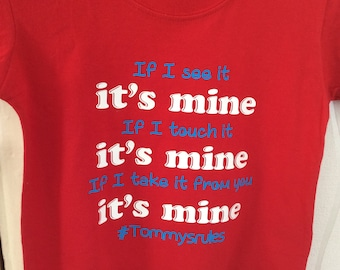 Children's personalised It's mine red #name T-shirt #personalisedclothing
