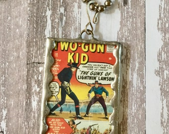 Pendant Glass Soldered Western with The Two Gun Kid Vintage Comic Jewelry OOAK