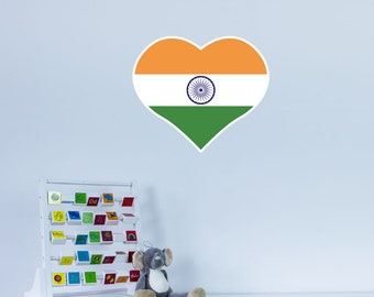 Heart Shaped National Flag of India Vinyl Wall Art
