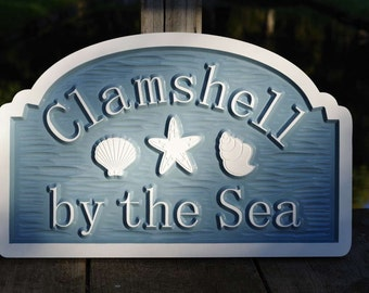 Custom Beach Address sign with sea shells and starfish