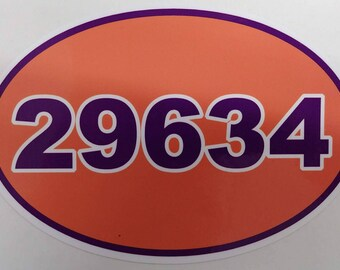 Clemson University Zip Code Decal