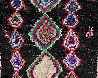 Boucherouite Rug Moroccan Rug Vintage (Black Diamond)