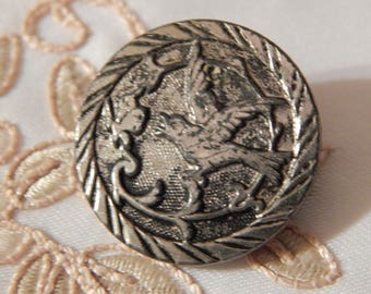 Bird Chasing a Butterfly - Silver Colored Metal Button