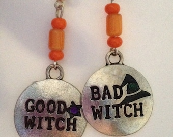 Good Witch Bad Witch Halloween post earrings