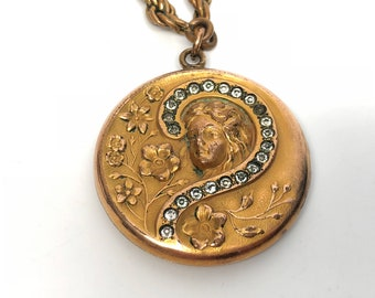 Victorian Paste Lady Locket with African American Photo