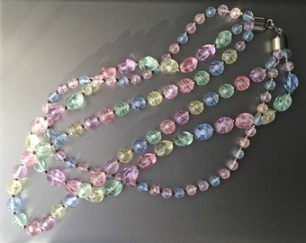 Pastel Translucent Lucite Beaded Multi Strand Necklace - Vintage Chunky Plastic Necklace - 3 Strand