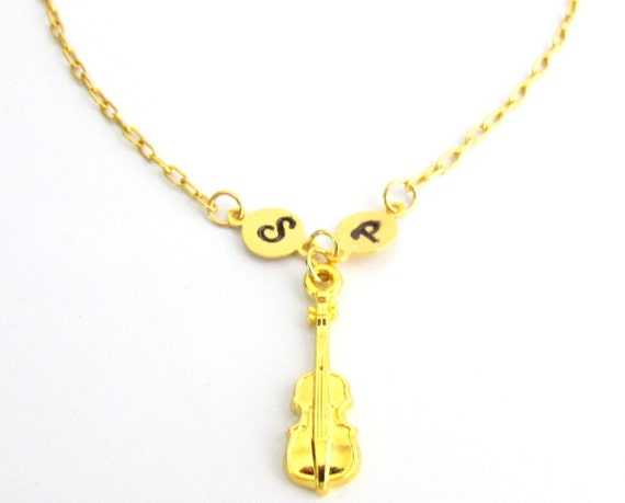 Gold Cello Necklace, Music Necklace, Cello Necklace, Gold Music Themed , Personalized Stamped Initial, Monogram Necklace Free Shipping USA