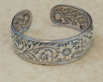 Vintage Cuff - Vintage Sterling Silver Flower Cuff Bracelet