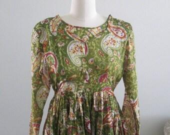 1980's India Print Paisley Cotton Dress  #18004