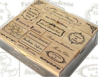 French Sayings Wood Rubber Stamp Set