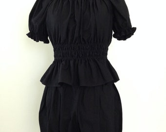 Black Shirred Blouse
