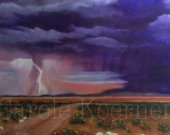 """Landscape pastel painting """"Storm in the Outback """""""