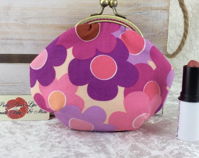 Flowers coin purse wallet fabric kiss clasp frame wallet change pouch handmade Cartoon