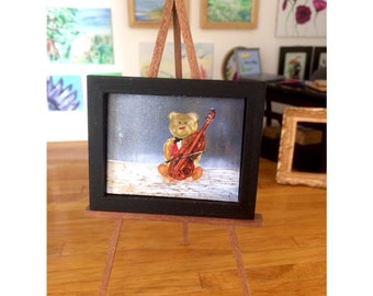 Dollhouse teddy bear with cello painting original art miniature concerto teddy