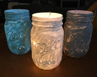 Painted Mason jars with lights- set of 3
