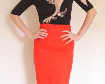 Vtg 70s 80s red highwaist linen belted secretary dress skirt