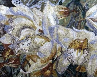 White Lilies Flowers Mosaic