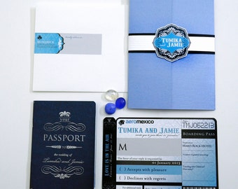 MELODI Black Blue Silver Passport and Boarding Pass Destination Wedding Invitation Travel Inspired Booklet Invite Suite Airline Plane Ticket
