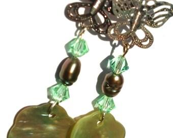 Green Butterfly and Flower Earrings, Swarovski, Pearl, Silver