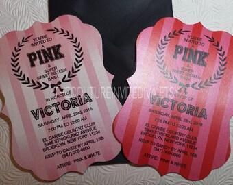 PINK Sweet Sixteen Invitation | Bachlorlette Party Invitation | Bridal Shower Invitation | Bat Mitzvah Invitation