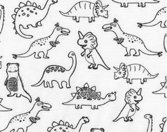 Dinosaur Outlines on White from Robert Kaufman's Dinoroar Collection by Sea Urchin Studios