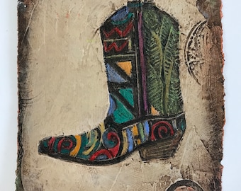 Western art BOOT 2 cowboy boot, small original painting on handmade paper with texture, embossed designs, contemporary art, western decor